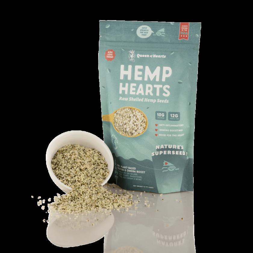 queen of hearts hemp hearts 12 oz stylized