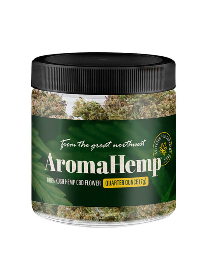 A quarter ounce jar of AromaHemp whole Kush Hemp flower