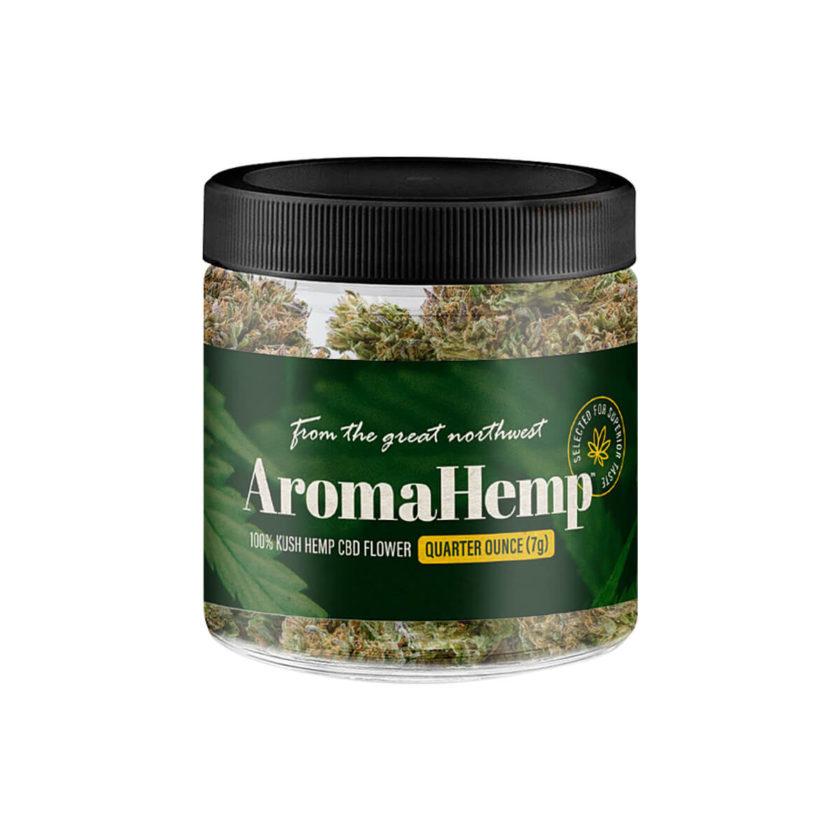 A quarter ounce jar of AromaHemp whole Kush Hemp flower