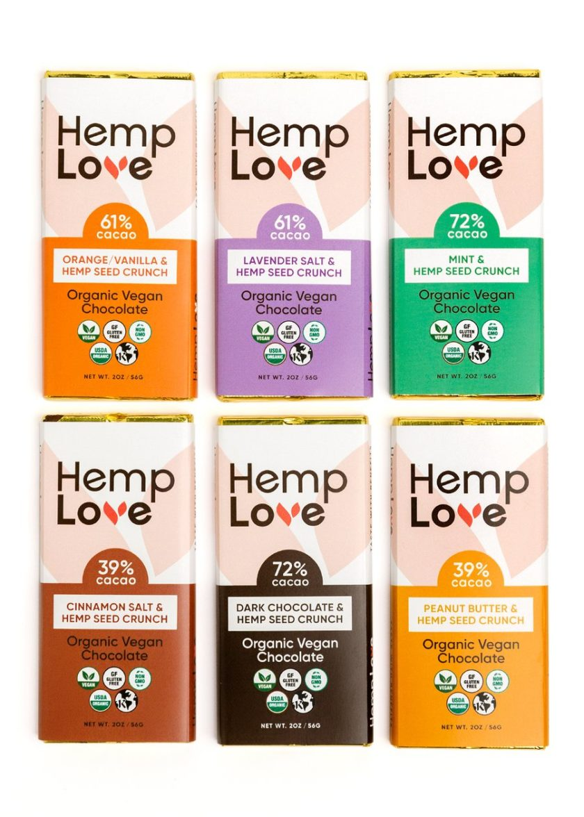 A collection of all six flavors of Hemp Love chocolate