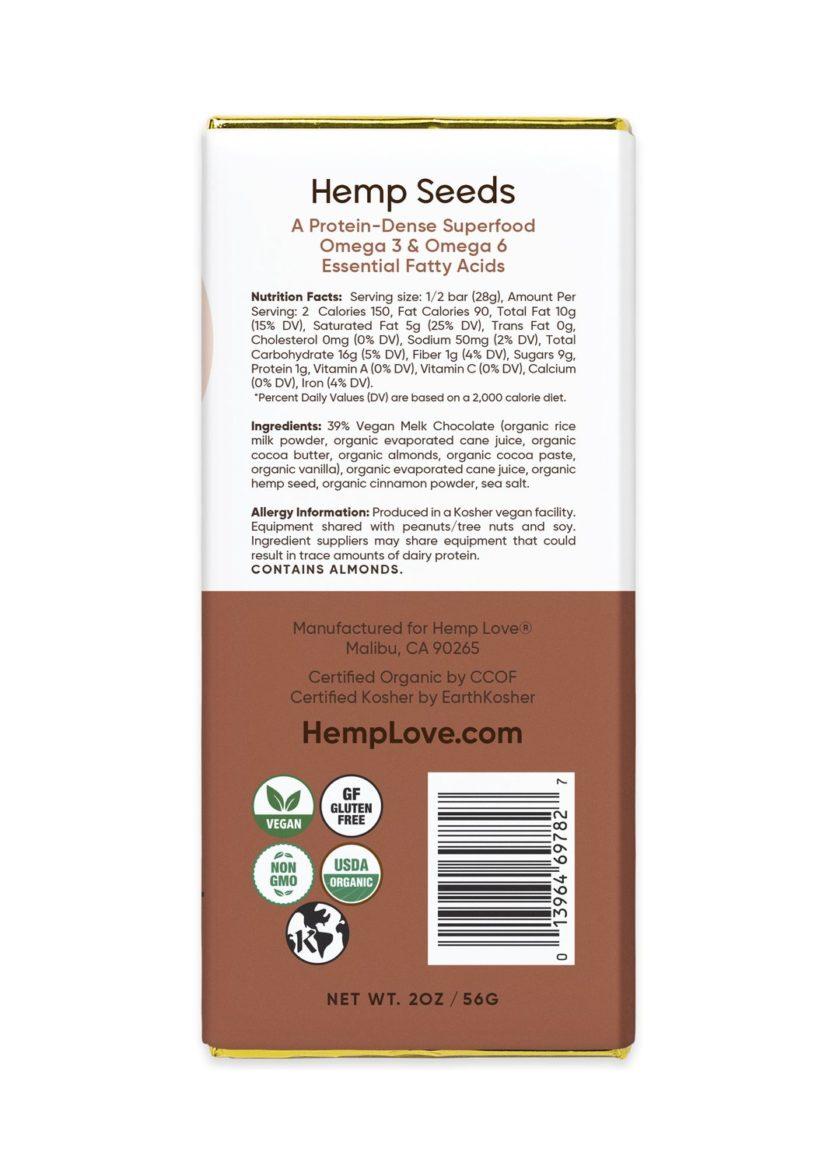 The back label of a Hemp Love cinnamon salt bar