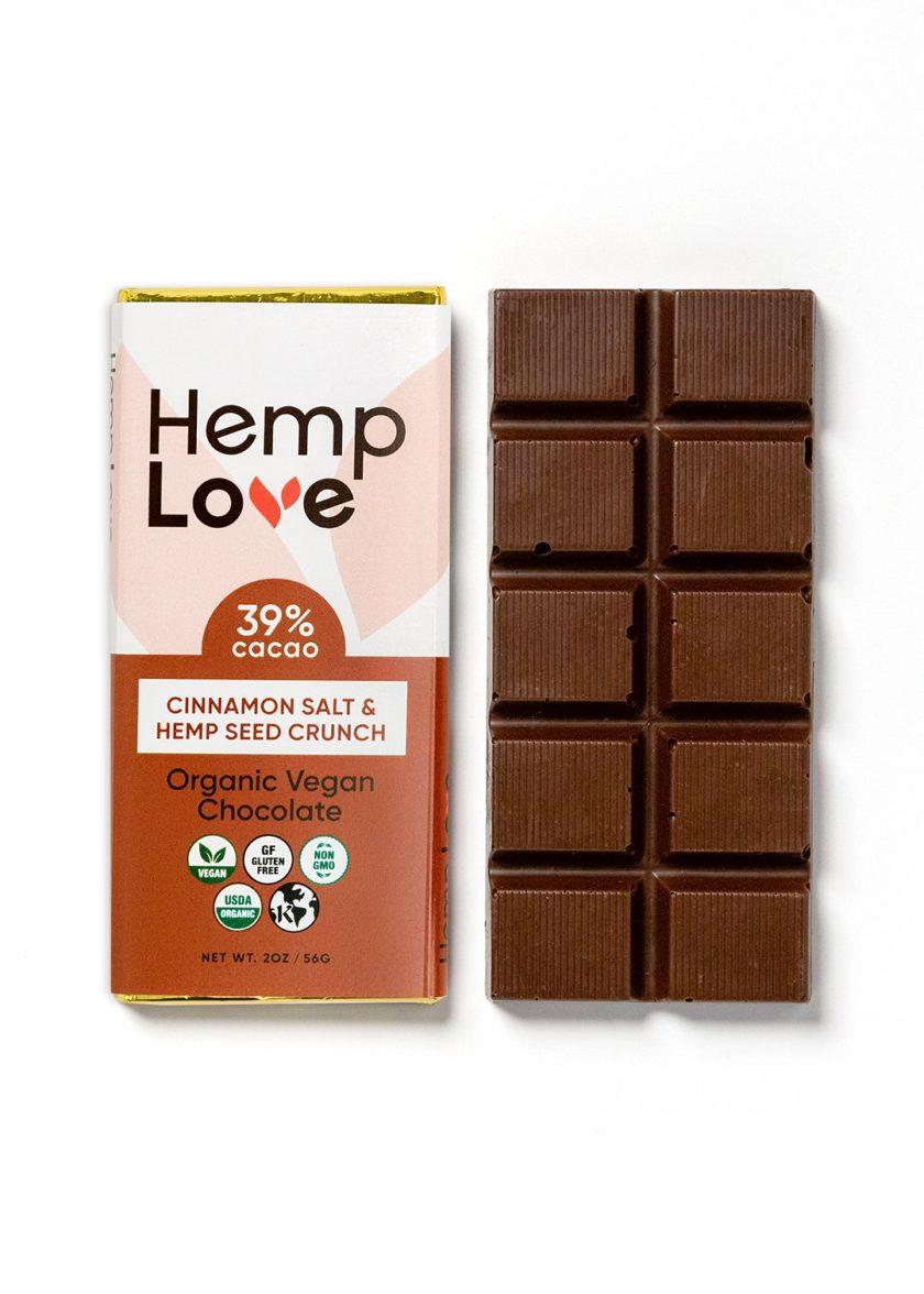 A unwrapped bar of Hemp Love cinnamon salt chocolate