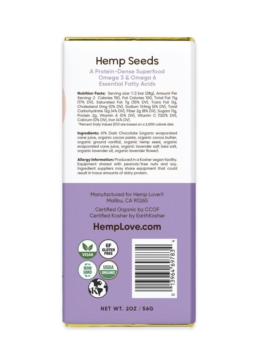 The back label of a Hemp Love lavender bar