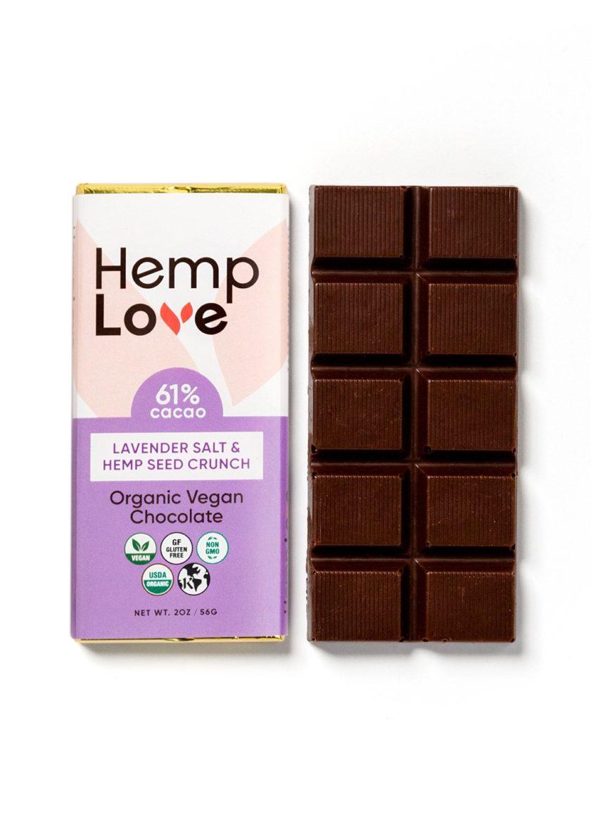A unwrapped bar of Hemp Love lavender chocolate