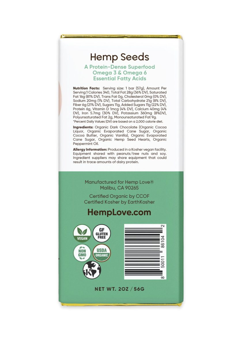The back label of a Hemp Love mint chocolate bar