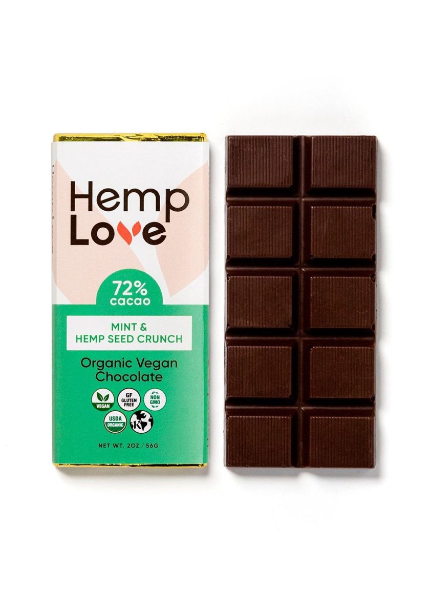 A unwrapped bar of Hemp Love mint chocolate