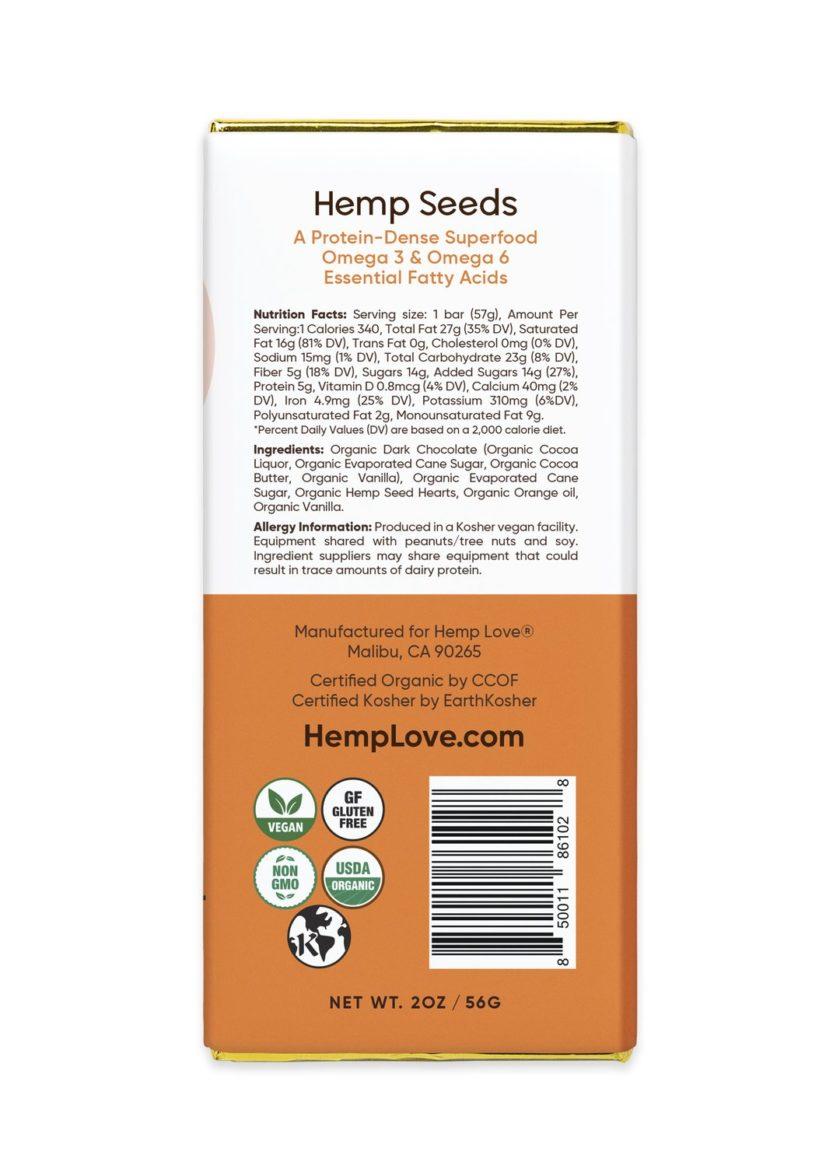 The back label of a Hemp Love orange vanilla chocolate bar