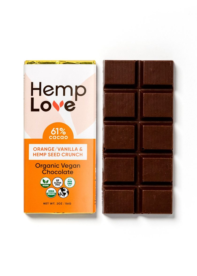 A unwrapped bar of Hemp Love orange vanilla chocolate