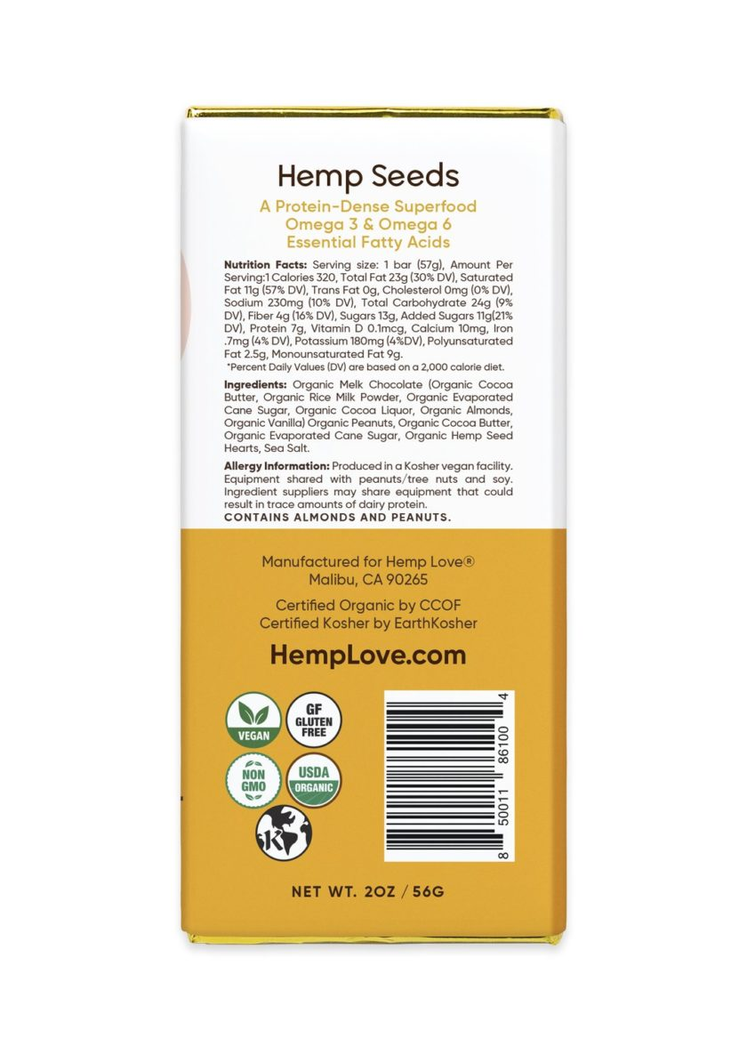 The back label of a Hemp Love peanut butter chocolate bar