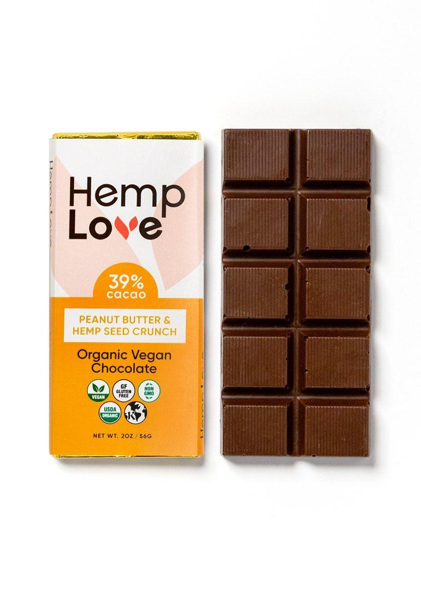 A unwrapped bar of Hemp Love peanut butter chocolate