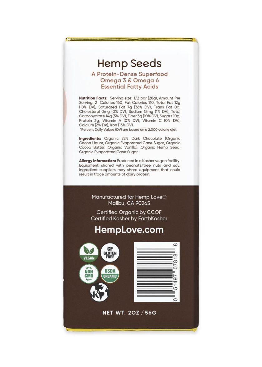 The back label of a Hemp Love dark chocolate bar