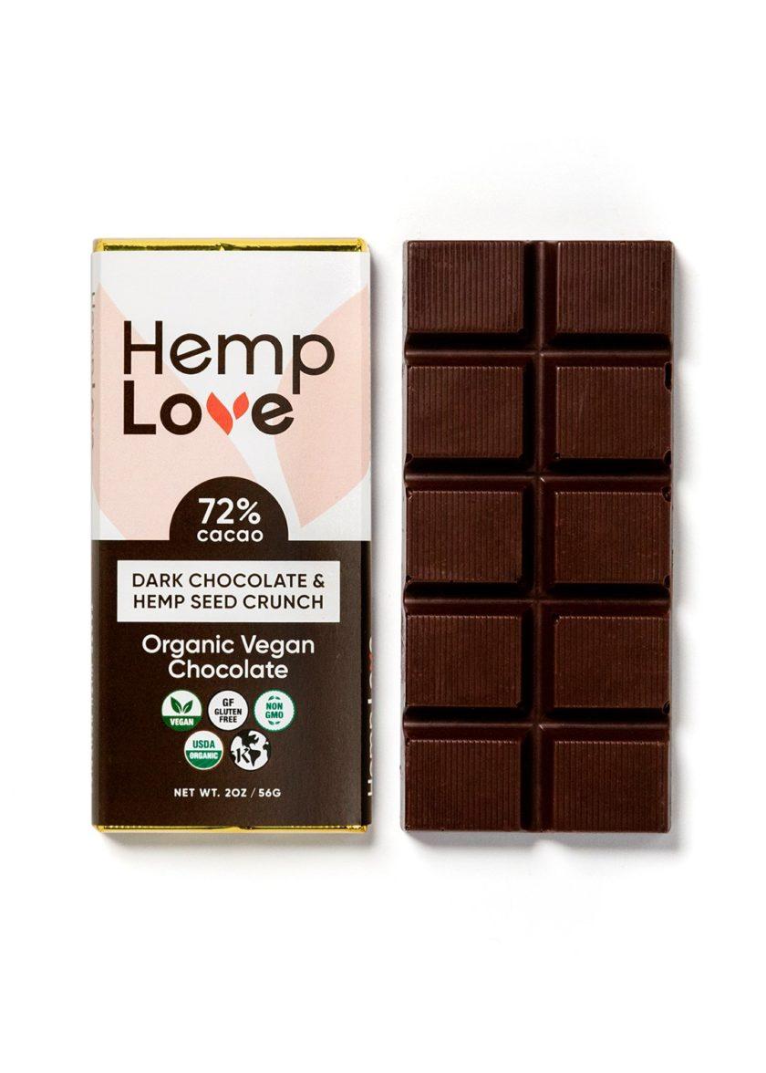 A unwrapped bar of Hemp Love dark chocolate