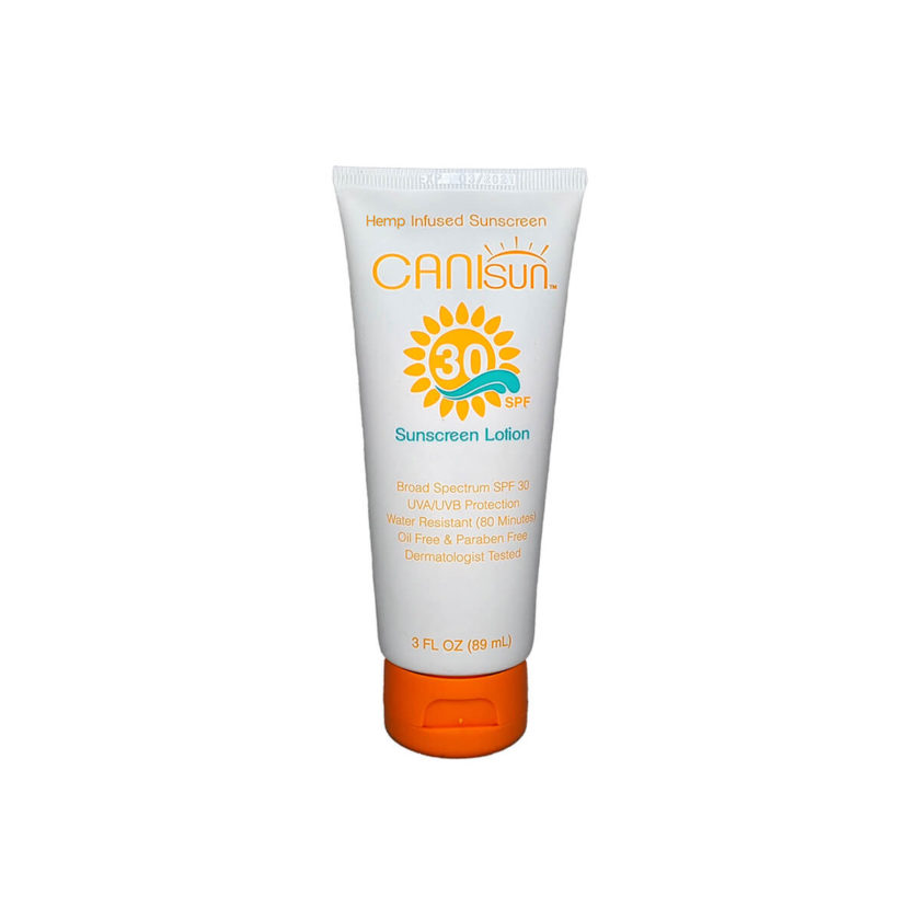The front side of a tube of Canisun SPF 30 sunscreen cream