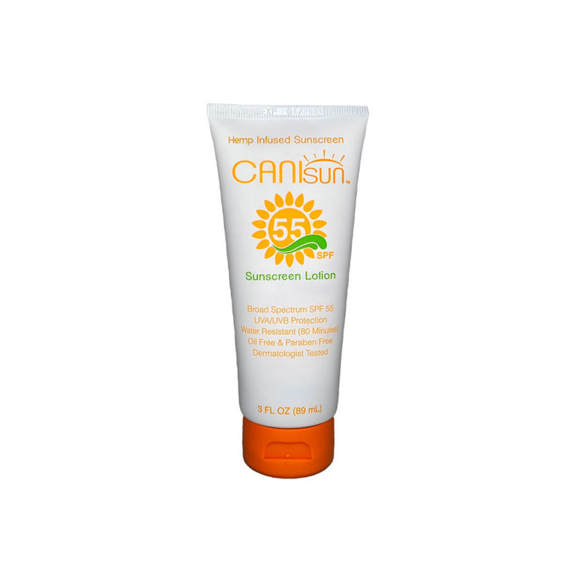 The front side of a tube of Canisun SPF 55 sunscreen cream