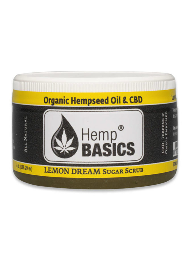 Unopened jar of Hemp Basics Lemon Dream Sugar Scrub