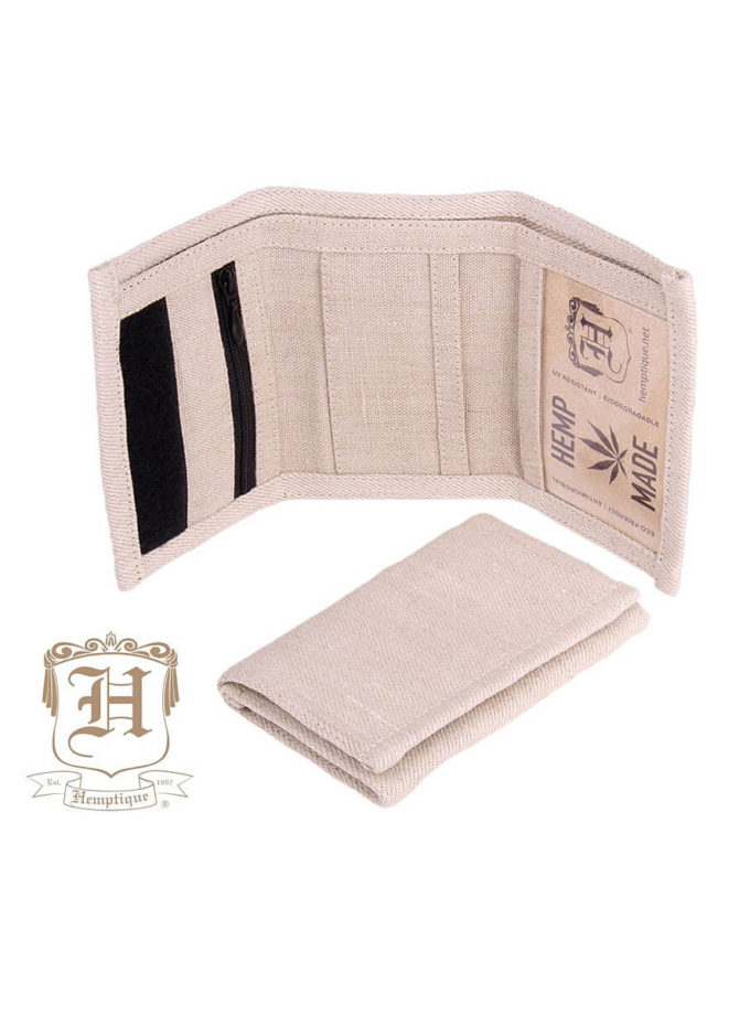 Hemptique hemp wallet in natural color unfolded and laying on its side, with another wallet folded up in front of it