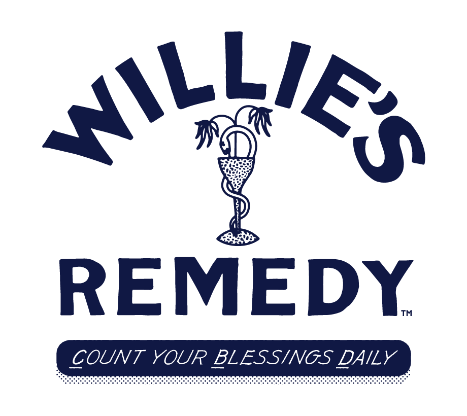 """Willie's Remedy logo with """"Count Your Blessings Daily"""""""